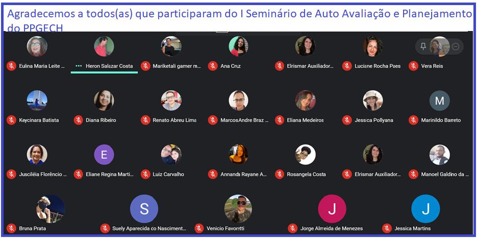 I SEMINÁRIO DE AUTO AVALIAÇÃO E PLANEJAMENTO DO PPGECH